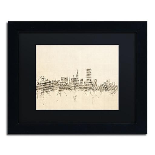 "Trademark Fine Art ''San Francisco Sheet Music II'' by Michael Tompsett 11"" x 14"" Black Matted Black Frame (MT0824-B1114BMF)"
