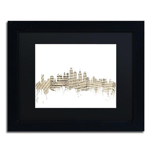 """Trademark Fine Art ''Philadelphia Skyline Sheet Music'' by Michael Tompsett 11"""" x 14"""" Black Frame (MT0825-B1114BMF)"""