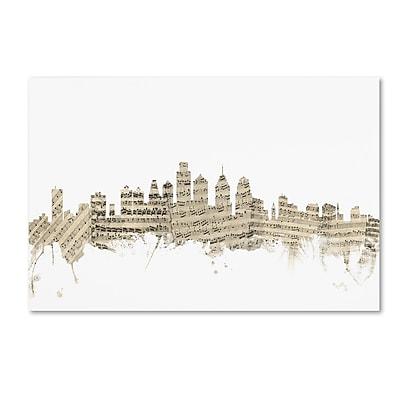 Trademark Fine Art ''Philadelphia Skyline Sheet Music'' by Michael Tompsett 16