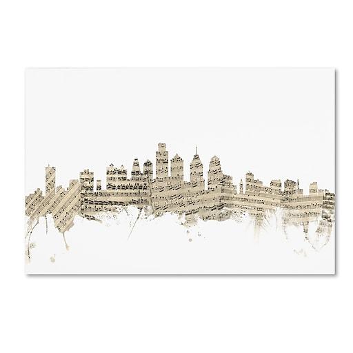 "Trademark Fine Art ''Philadelphia Skyline Sheet Music'' by Michael Tompsett 30"" x 47"" Canvas Art (MT0825-C3047GG)"