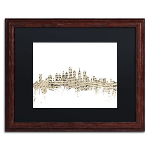 "Trademark Fine Art ''Philadelphia Skyline Sheet Music'' by Michael Tompsett 16"" x 20"" Wood Frame (MT0825-W1620BMF)"