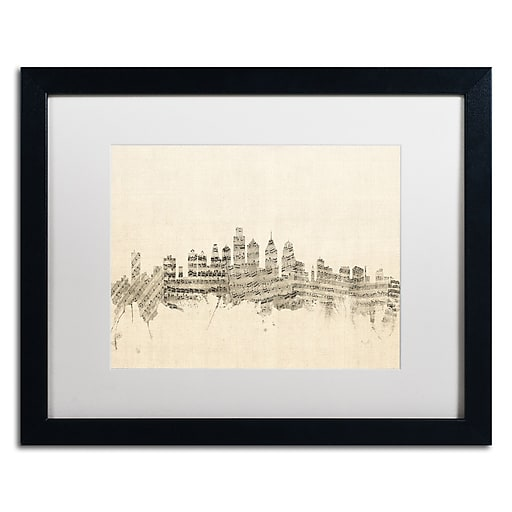 "Trademark Fine Art ''Philadelphia Sheet Music II'' by Michael Tompsett 16"" x 20"" White Matted Black Frame (MT0826-B1620MF)"