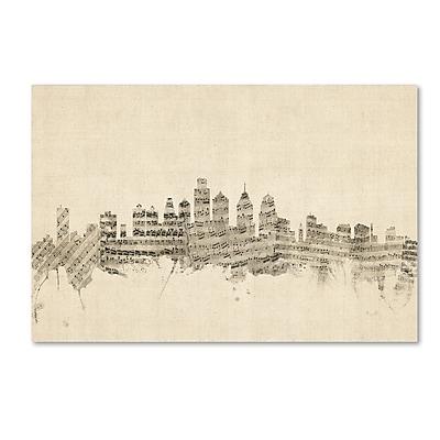 Trademark Fine Art ''Philadelphia Skyline Sheet Music'' by Michael Tompsett 30