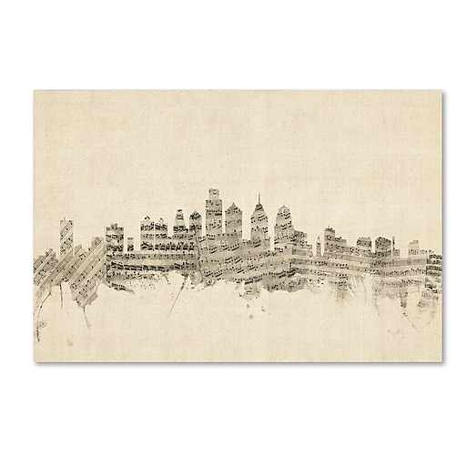 "Trademark Fine Art ''Philadelphia Skyline Sheet Music'' by Michael Tompsett 12"" x 19"" Canvas Art (MT0826-C1219GG)"