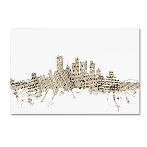 "Trademark Fine Art ''Pittsburgh Skyline Sheet Music'' by Michael Tompsett 16"" x 24"" Canvas Art (MT0827-C1624GG)"