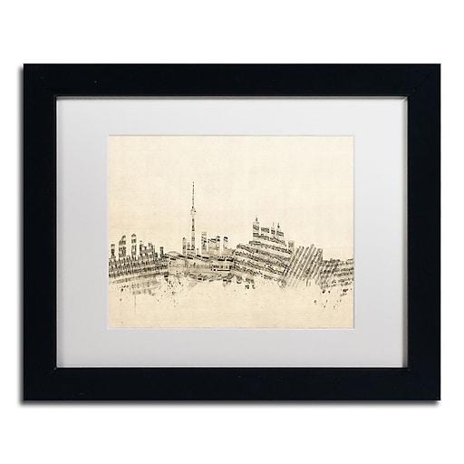 "Trademark Fine Art ''Toronto Skyline Sheet Music'' by Michael Tompsett 11"" x 14"" Black Frame (MT0830-B1114MF)"
