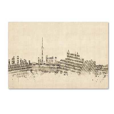 Trademark Fine Art ''Toronto Canada Skyline Sheet Music'' by Michael Tompsett 30