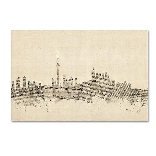 "Trademark Fine Art ''Toronto Canada Skyline Sheet Music'' by Michael Tompsett 22"" x 32"" Canvas Art (MT0830-C2232GG)"