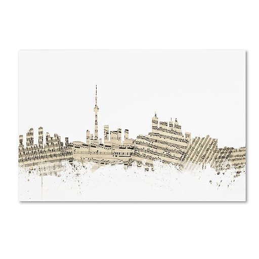 "Trademark Fine Art ''Toronto Canada Skyline Sheet Music'' by Michael Tompsett 12"" x 19"" Canvas Art (MT0831-C1219GG)"