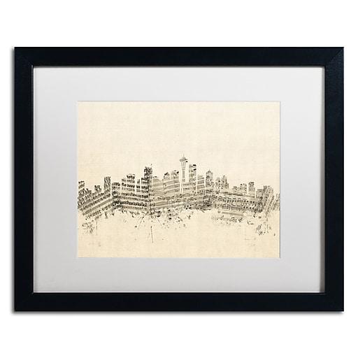 """Trademark Fine Art ''Seattle Skyline Sheet Music'' by Michael Tompsett 16"""" x 20"""" White Matted Black Frame (MT0832-B1620MF)"""