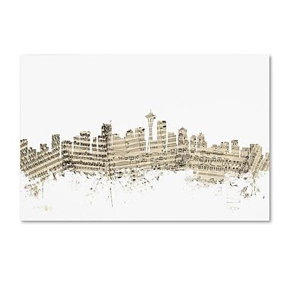 Trademark Fine Art ''Seattle Washington Skyline Sheet Music'' by Michael Tompsett 22