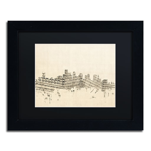 "Trademark Fine Art ''Boston Skyline Sheet Music'' by Michael Tompsett 11"" x 14"" Black Frame (MT0834-B1114BMF)"