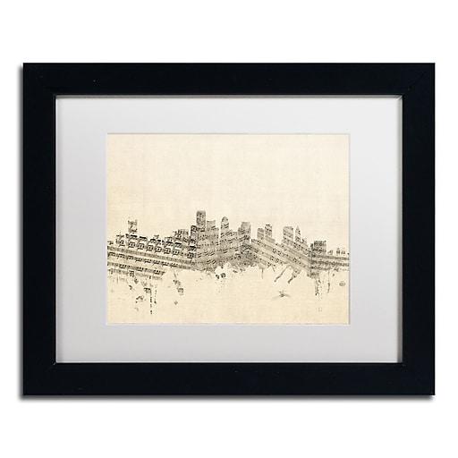 """Trademark Fine Art ''Boston Skyline Sheet Music'' by Michael Tompsett 11"""" x 14"""" Black Frame (MT0834-B1114MF)"""