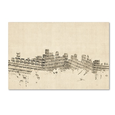 Trademark Fine Art ''Boston Massachusetts Skyline Sheet Music'' by Michael Tompsett 30