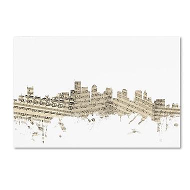 Trademark Fine Art ''Boston Massachusetts Skyline Sheet Music'' by Michael Tompsett 16