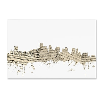 Trademark Fine Art ''Boston Massachusetts Skyline Sheet Music'' by Michael Tompsett 12