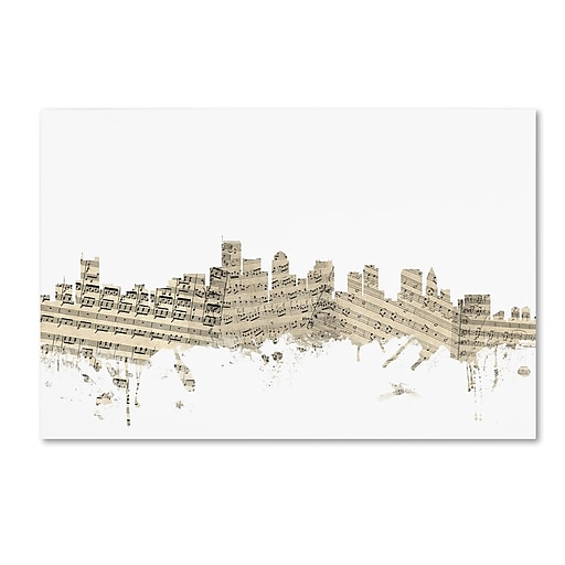 "Trademark Fine Art ''Boston Massachusetts Skyline Sheet Music'' by Michael Tompsett 12"" x 19"" Canvas Art (MT0835-C1219GG)"