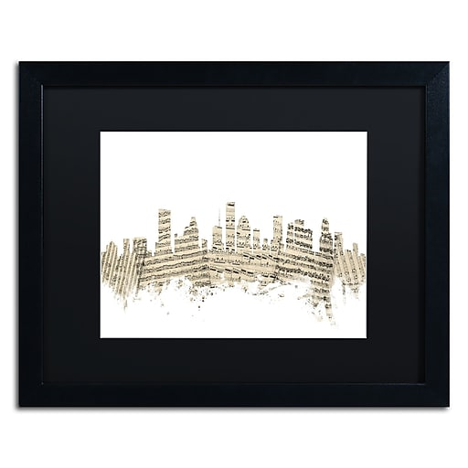 "Trademark Fine Art ''Houston Skyline Sheet Music II'' by Michael Tompsett 16"" x 20"" Black Matted Black Frame (MT0837-B1620BMF)"