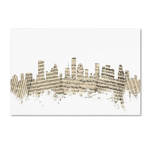 "Trademark Fine Art ''Houston Texas Skyline Sheet Music'' by Michael Tompsett 16"" x 24"" Canvas Art (MT0837-C1624GG)"