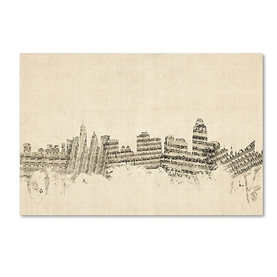 Trademark Fine Art ''Cincinnati Ohio Skyline Sheet Music'' by Michael Tompsett 30