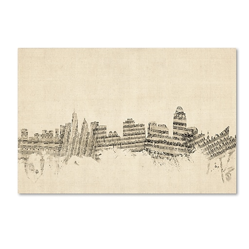 "Trademark Fine Art ''Cincinnati Ohio Skyline Sheet Music'' by Michael Tompsett 22"" x 32"" Canvas Art (MT0838-C2232GG)"