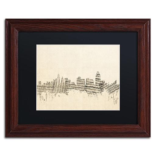"Trademark Fine Art ''Cincinnati Skyline Sheet Music'' by Michael Tompsett 11"" x 14"" Wood Frame (MT0838-W1114BMF)"