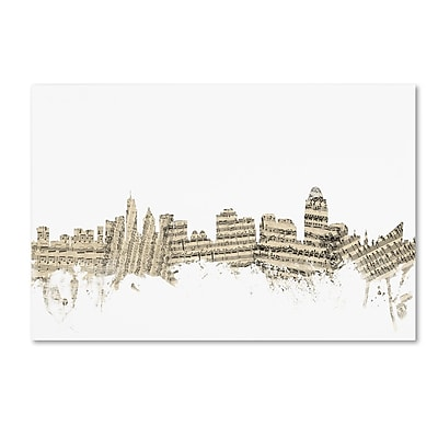 Trademark Fine Art ''Cincinnati Ohio Skyline Sheet Music'' by Michael Tompsett 12