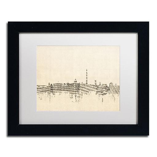 "Trademark Fine Art ''Washington DC Skyline Sheet Music'' by Michael Tompsett 11"" x 14"" Black Frame (MT0840-B1114MF)"