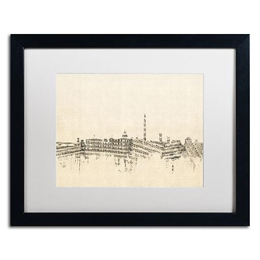 "Trademark Fine Art ''Washington DC Skyline Sheet Music'' by Michael Tompsett 16"" x 20"" White Matted Black Frame (MT0840-B1620MF)"