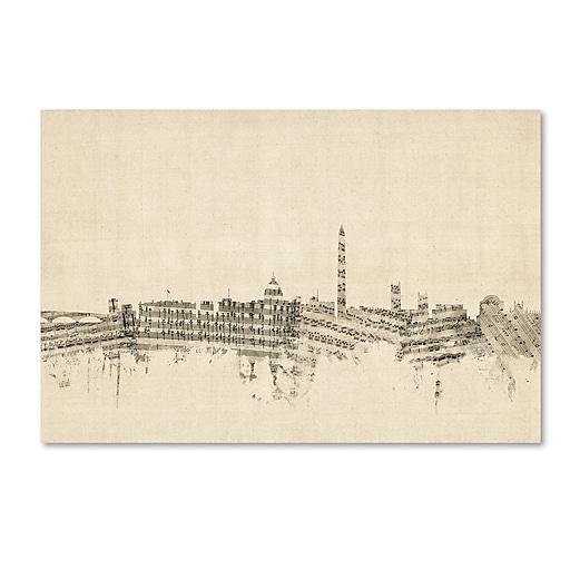 "Trademark Fine Art ''Washington DC Skyline Sheet Music'' by Michael Tompsett 12"" x 19"" Canvas Art (MT0840-C1219GG)"