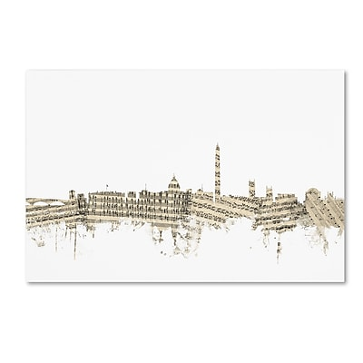 Trademark Fine Art ''Washington DC Skyline Sheet Music'' by Michael Tompsett 22