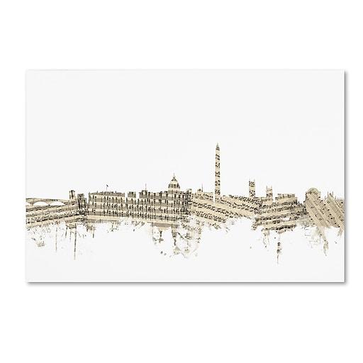 "Trademark Fine Art ''Washington DC Skyline Sheet Music'' by Michael Tompsett 30"" x 47"" Canvas Art (MT0841-C3047GG)"