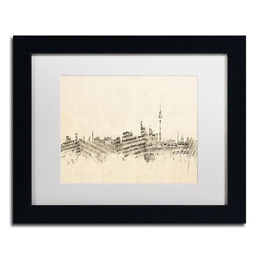 "Trademark Fine Art ''Berlin Skyline Sheet Music'' by Michael Tompsett 11"" x 14"" Black Frame (MT0842-B1114MF)"