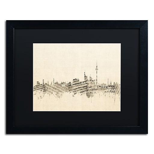 "Trademark Fine Art ''Berlin Skyline Sheet Music'' by Michael Tompsett 16"" x 20"" Black Matted Black Frame (MT0842-B1620BMF)"