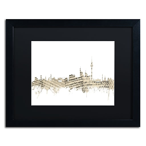 "Trademark Fine Art ''Berlin Skyline Sheet Music'' by Michael Tompsett 16"" x 20"" Black Matted Black Frame (MT0843-B1620BMF)"