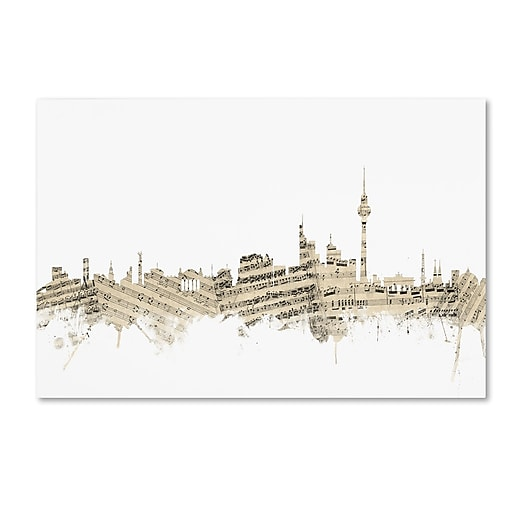 "Trademark Fine Art ''Berlin Germany Skyline Sheet Music'' by Michael Tompsett 16"" x 24"" Canvas Art (MT0843-C1624GG)"