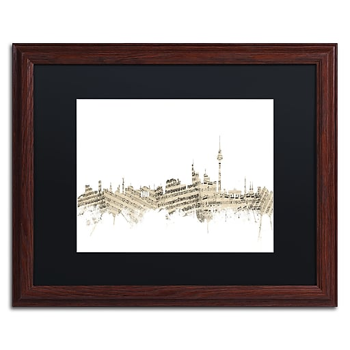 "Trademark Fine Art ''Berlin Skyline Sheet Music'' by Michael Tompsett 16"" x 20"" Black Matted Wood Frame (MT0843-W1620BMF)"