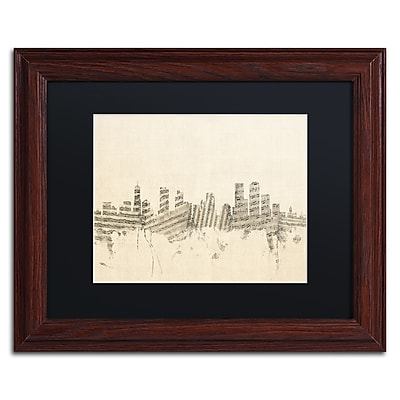 "Trademark Fine Art ''Denver Skyline Sheet Music'' by Michael Tompsett 11"" x 14"" Wood Frame (MT0844-W1114BMF)"