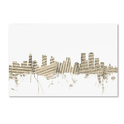 Trademark Fine Art ''Denver Colorado Skyline Sheet Music'' by Michael Tompsett 12