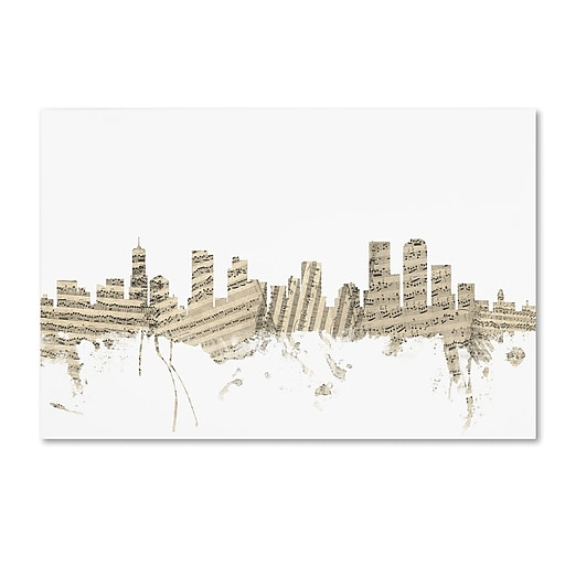 "Trademark Fine Art ''Denver Colorado Skyline Sheet Music'' by Michael Tompsett 12"" x 19"" Canvas Art (MT0845-C1219GG)"