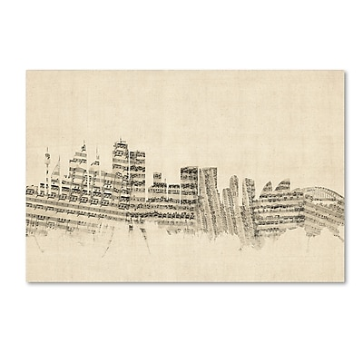 Trademark Fine Art ''Sydney Australia Skyline Sheet Music'' by Michael Tompsett 16