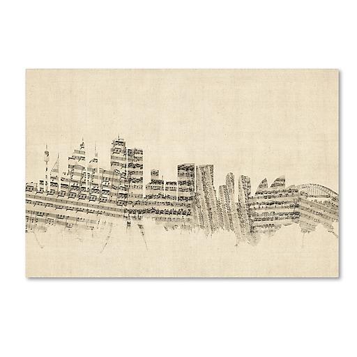 "Trademark Fine Art ''Sydney Australia Skyline Sheet Music'' by Michael Tompsett 12"" x 19"" Canvas Art (MT0846-C1219GG)"