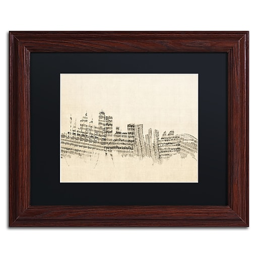 "Trademark Fine Art ''Sydney Skyline Sheet Music'' by Michael Tompsett 11"" x 14"" Wood Frame (MT0846-W1114BMF)"
