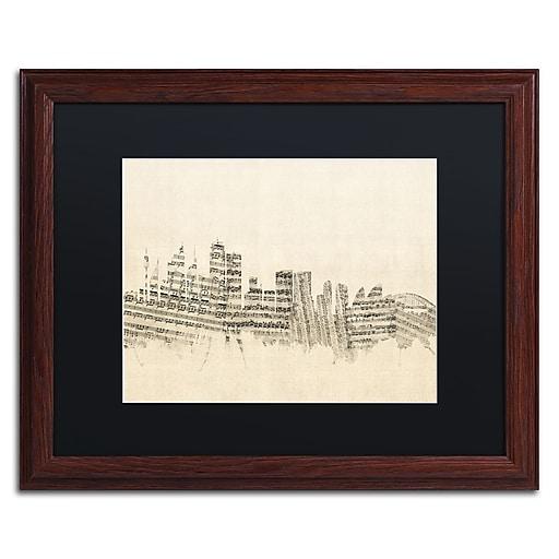 "Trademark Fine Art ''Sydney Skyline Sheet Music'' by Michael Tompsett 16"" x 20"" Black Matted Wood Frame (MT0846-W1620BMF)"