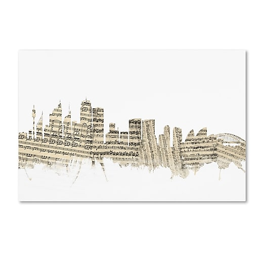 "Trademark Fine Art ''Sydney Australia Skyline Sheet Music'' by Michael Tompsett 30"" x 47"" Canvas Art (MT0847-C3047GG)"