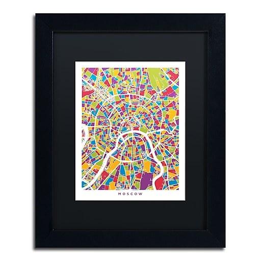 "Trademark Fine Art ''Moscow City Street Map II'' by Michael Tompsett 11"" x 14"" Black Matted Black Frame (MT0848-B1114BMF)"