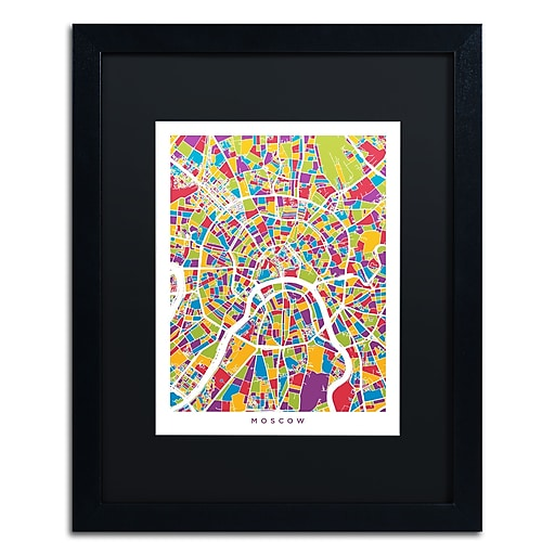 "Trademark Fine Art ''Moscow City Street Map II'' by Michael Tompsett 16"" x 20"" Black Matted Black Frame (MT0848-B1620BMF)"