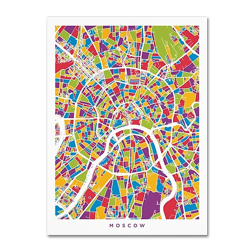 "Trademark Fine Art ''Moscow City Street Map'' by Michael Tompsett 14"" x 19"" Canvas Art (MT0848-C1419GG)"