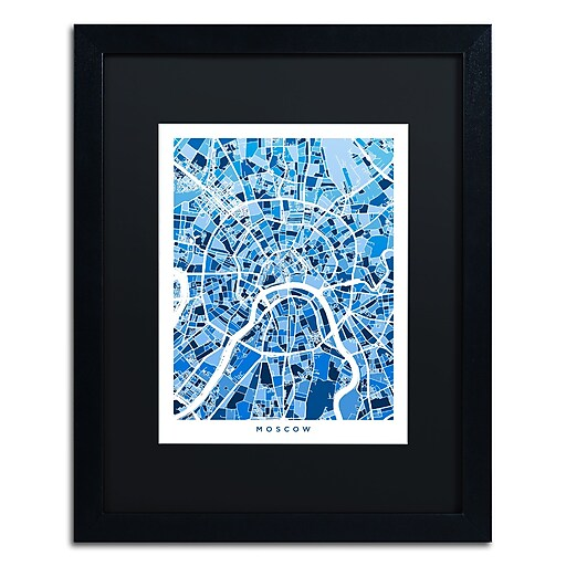 "Trademark Fine Art ''Moscow City Street Map III'' by Michael Tompsett 16"" x 20"" Black Matted Black Frame (MT0849-B1620BMF)"