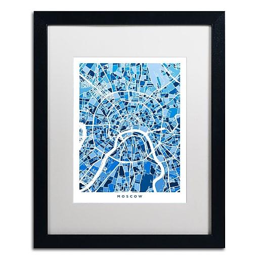 "Trademark Fine Art ''Moscow City Street Map III'' by Michael Tompsett 16"" x 20"" White Matted Black Frame (MT0849-B1620MF)"